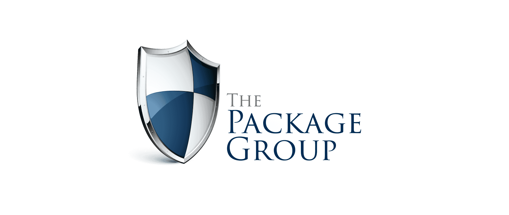 blue and white shield logo - The Package Group
