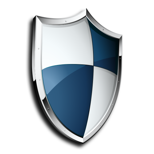 blue and white shield logo